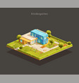 isometric modern kindergarten with playground vector image