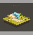 isometric modern kindergarten with playground vector image vector image