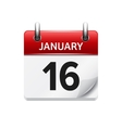 January 16 flat daily calendar icon Date vector image vector image