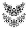 lace single pattern set - black floral lace vector image vector image