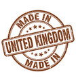 made in united kingdom brown grunge round stamp vector image vector image