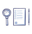 magnifying glass office paper icon sharp pencil vector image vector image