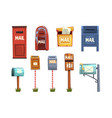 mail boxes set vintage postbox cartoon vector image vector image