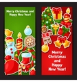 Merry Christmas and Happy New Year sticker banners vector image vector image