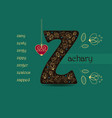 name day greeting card with flowers and letter z vector image vector image