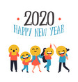 new year 2020 diverse people smiley face icon vector image