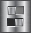 on and off square slider buttons metal switch vector image vector image