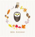 owl with autumn frame card vector image vector image