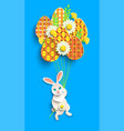 papercut easter card with rabbit eggs vector image vector image
