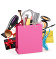 pink shopping bag vector image vector image
