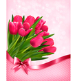 Pink tulips beautiful background vector image vector image