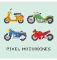 Pixel art style motorbike isolated set vector image vector image