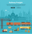 railway freight delivery and logistics vector image vector image