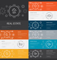 real estate infographic 10 line icons banners vector image