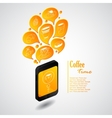 Ringing phone with bubbles of coffee vector image vector image