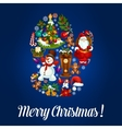 Santas glove for Christmas greeting poster design vector image vector image