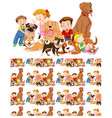 seamless background design with kids and many dogs vector image vector image