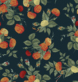 Seamless floral pattern with orange and white vector image vector image