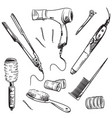 set hair styling tools sketch vector image vector image