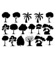 set silhouette tree vector image vector image