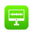 sound waves icon digital green vector image