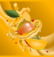 splash of mango juice in motion vector image vector image
