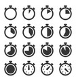 stopwatch icons set on white background vector image vector image