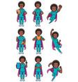 super nurse african female set vector image vector image