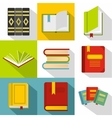 Textbooks icons set flat style vector image vector image