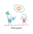 therapist with syringe is looking at the patients vector image