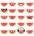 watermelons with smiley faces vector image