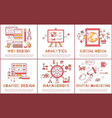 web design and management set vector image