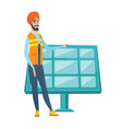 young hindu worker of solar power plant vector image vector image