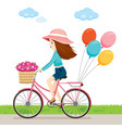 young woman riding bicycle with flowers and vector image