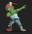 zombie dabbing dance with a cleaver in his head vector image vector image