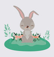 easter landscape scene of rabbit with closed eyes vector image