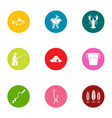 angling icons set flat style vector image vector image