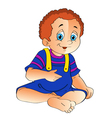 Baby sits and looking up vector image