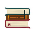 books pile of three with bookmarks isolated on vector image vector image
