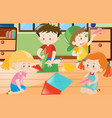 boys and girls folding paper in room vector image