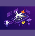 buying tickets for travel aircraft concept vector image vector image