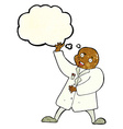 cartoon mad scientist with thought bubble vector image