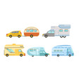 collection camper or commercial trailers vector image vector image