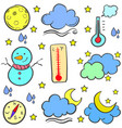 collection stock of weather object doodles vector image