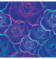Color outline roses on blue seamless pattern vector image vector image