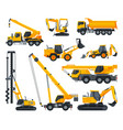 construction heavy machinery set heavy special vector image vector image