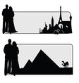 couple with famous monument vector image vector image