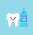 cute tooth holding mouthwash bottle isolated vector image vector image