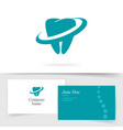 dental care logo on business visiting card vector image vector image