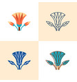 egyptian lotus icon set in flat and line style vector image vector image